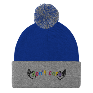 Don't Care Pom-Pom Beanie