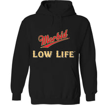 Load image into Gallery viewer, morbid low life miller high life girl skeleton death hoodie design by palm treat