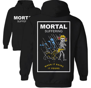 Mortal Suffering Coppertone Girl hoodie When it Rains It pours illustration by Palm Treat designers Marie Nolan and Jeff Nolan
