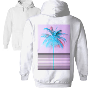vaporwave pastel palm tree express graphic line hoodie by palm treat