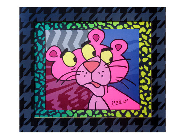 Marie Nolan outsider pop vaporwave artist detroit Original Lisa Frank inspired pop art painting of the Pink Panther with houndstooth frame. Not signed by Picasso, but a trippy pop art painting by Palm Treat artists Marie Nolan & Jeff Nolan, outsider artists.