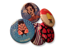 Load image into Gallery viewer, Fruity feminist palm treat pins with cat woman and vintage pin up