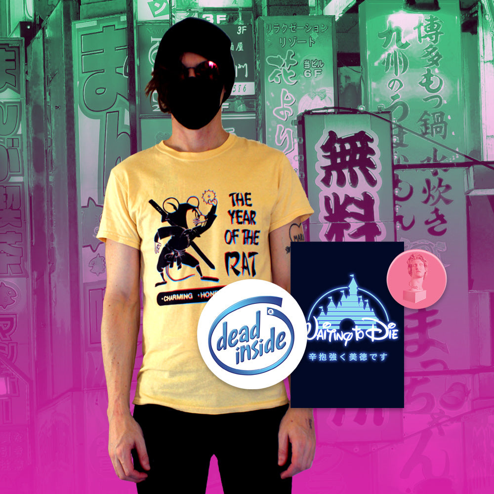 Year of the Rat T-Shirt - Small by palm-treat.myshopify.com for sale online now - the latest Vaporwave & Soft Grunge Clothing