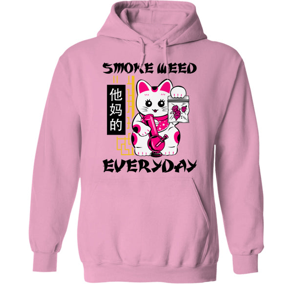 smoke weed everyday stoned cat kawaii hoodie