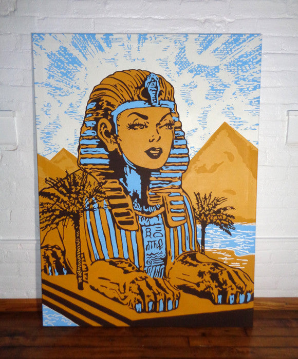 Marie Nolan outsider folk artist vaporwave Trippy retro sphinx painting with sunbeams in Egypt by the great pyramid artwork for sale. Palm Treat artists Marie Nolan & Jeff Nolan.