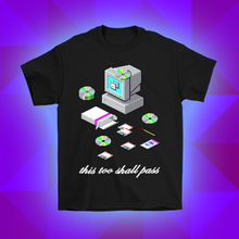 Load image into Gallery viewer, this too shall pass windows 95 98 installation icon logos screen microsoft t-shirt design by palm treat artists jeff nolan & marie nolan