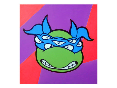 Marie Nolan artist outsider art 80's & 90's retro cartoon art. Trippy psychedelic nostalgia for original TNMT cartoon. Drug art featuring Leonardo of Teenage Mutant Ninja Turtles painted by Jeff Nolan & Marie Nolan of Palm Treat.