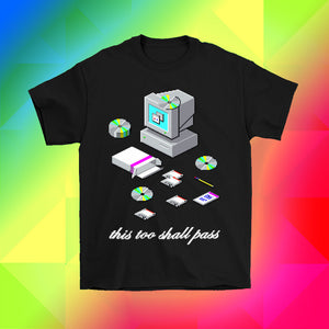 pixel art windows 95 desktop computer t-shirt by Palm Treat