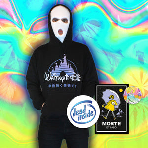 Waiting to Die Hoodie - Medium by palm-treat.myshopify.com for sale online now - the latest Vaporwave & Soft Grunge Clothing