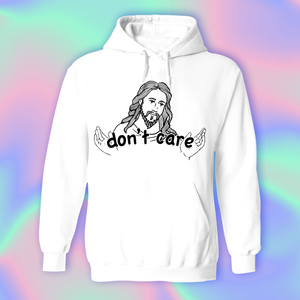Jesus Don't Care Hoodie by palm-treat.myshopify.com for sale online now - the latest Vaporwave & Soft Grunge Clothing