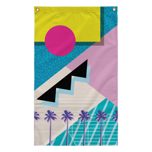 Load image into Gallery viewer, Yoko honda 80s palm tree cocaine miami vaporwave aesthetic ocean blues flag by palm treat artists jeff nolan & Marie nolan