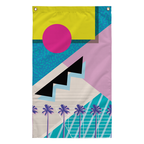 Yoko honda 80s palm tree cocaine miami vaporwave aesthetic ocean blues flag by palm treat artists jeff nolan & Marie nolan