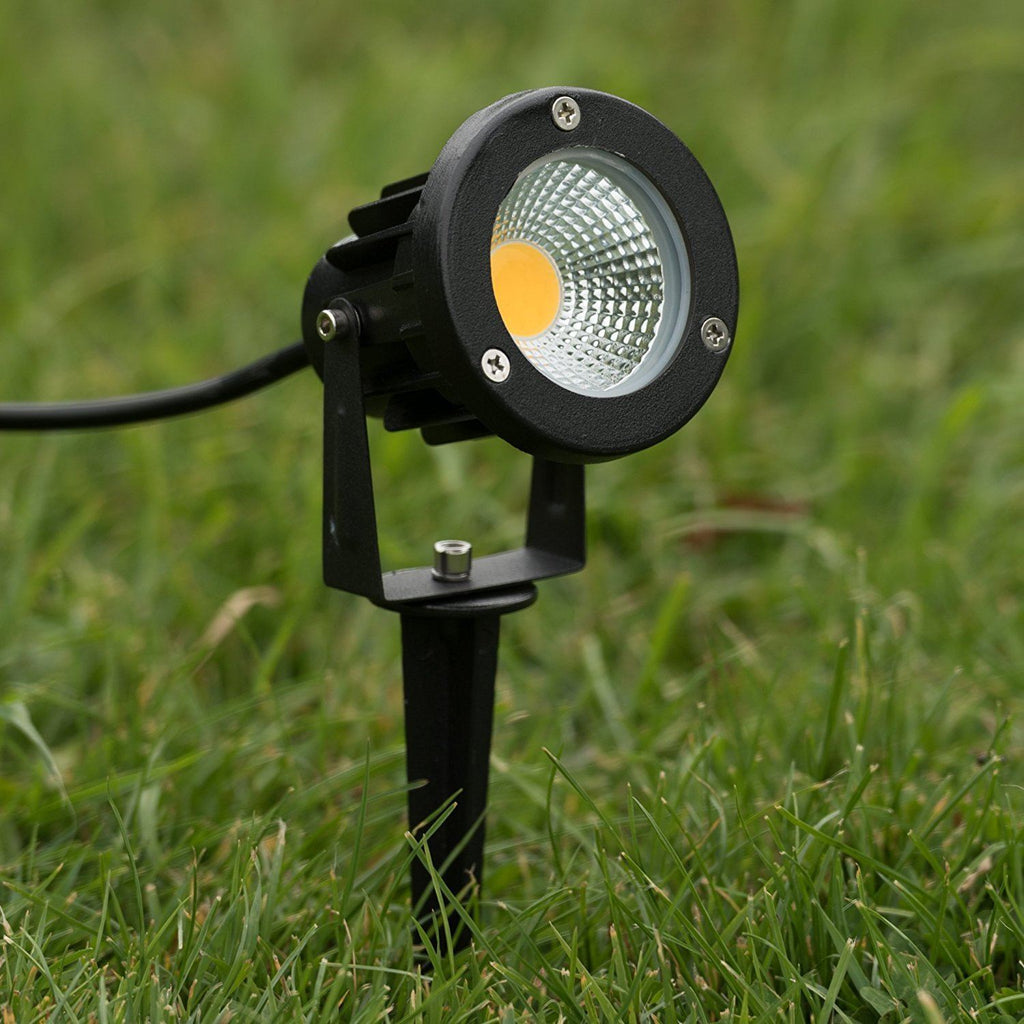 5w cob warm white led outdoor garden light ground spike and wall