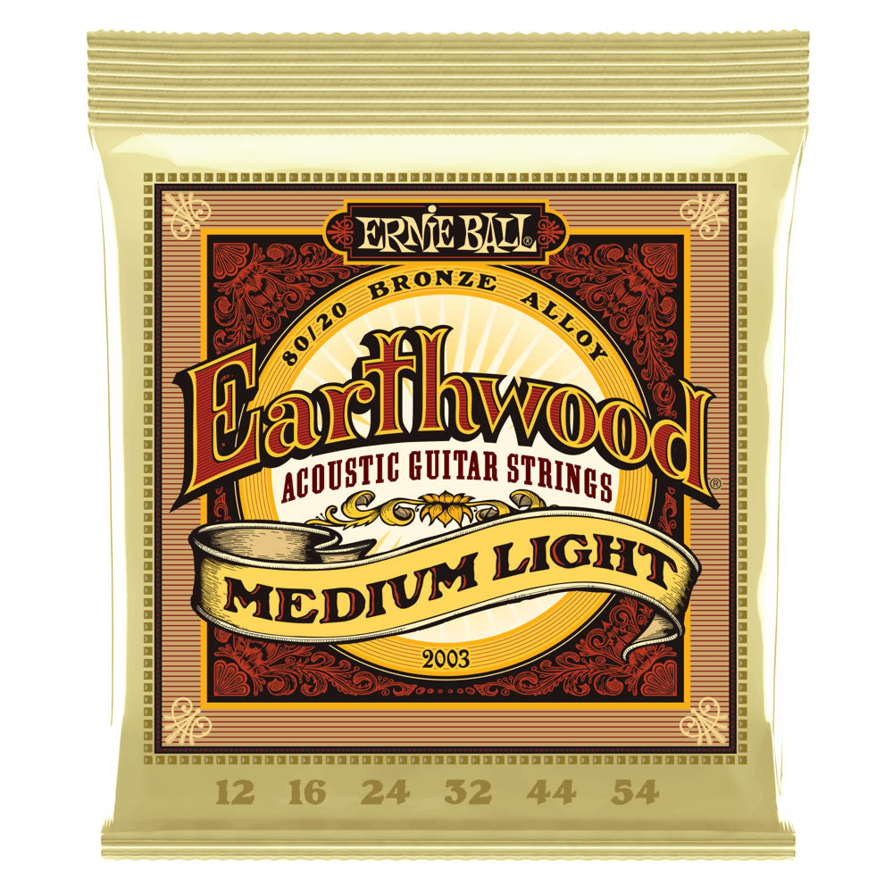 Ernie Ball Earthwood 80/20 Bronze Acoustic Guitar Strings - 12-54 Gauge - Medium Light