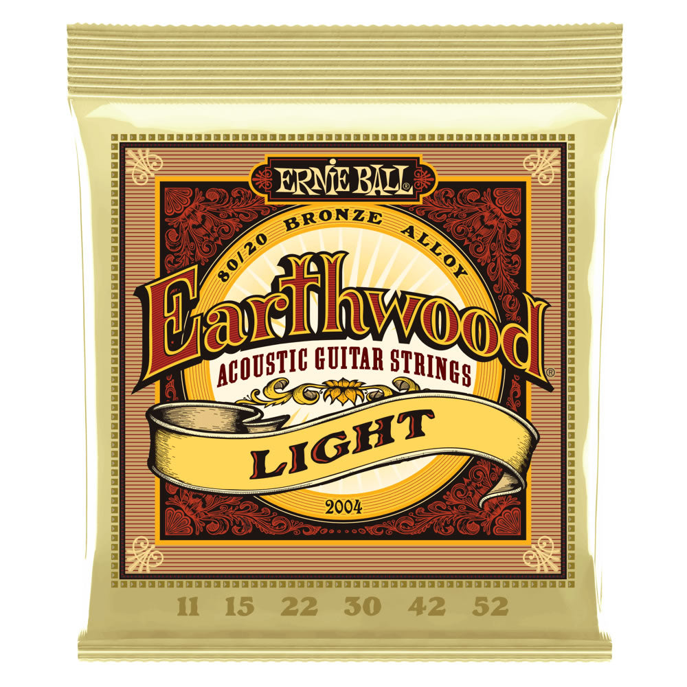 Ernie Ball Earthwood 80/20 Bronze Acoustic Guitar Strings - 11-52 Gauge - Light