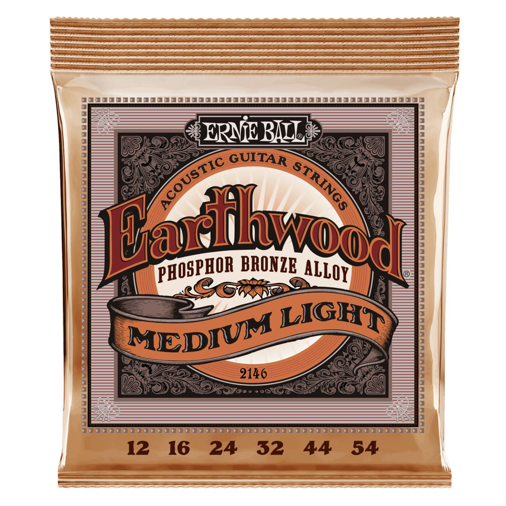 Ernie Ball Earthwood Phosphor Bronze Acoustic Guitar Strings 12-54 Gauge - Medium Light