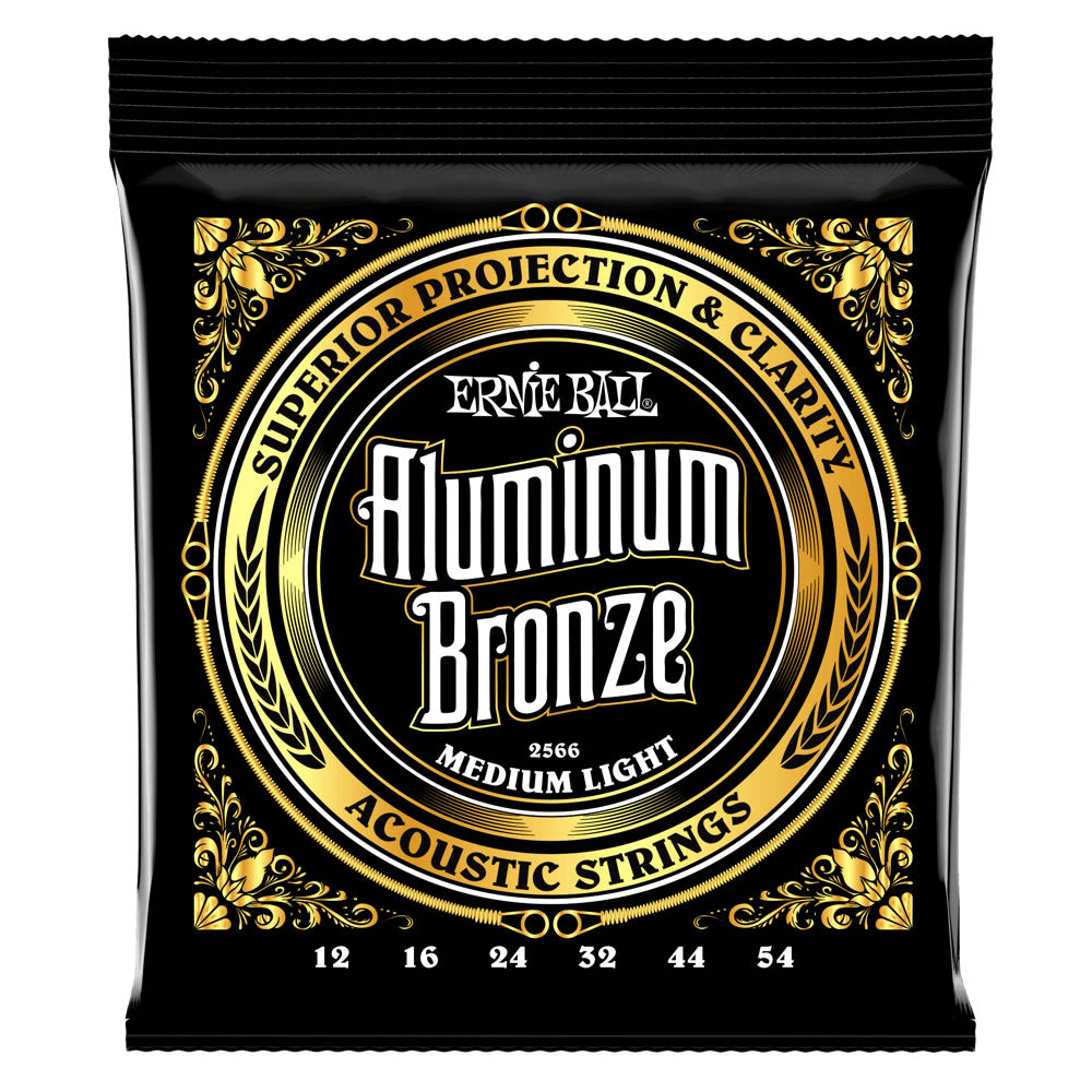 Ernie Ball Aluminum Bronze Acoustic Guitar Strings - 12-54 Gauge - Medium Light