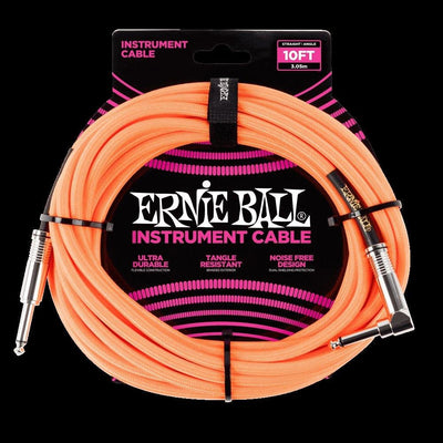 Ernie Ball 10' Braided Cable - Straight to Right Angle Plugs