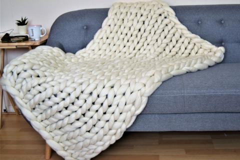 Knitting Wool Blanket : Super chunky knit blanket natural merino wool giant stitch