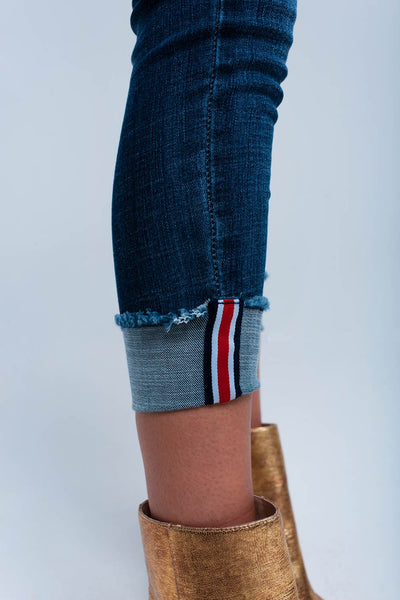 skinny denim with rolled up effect