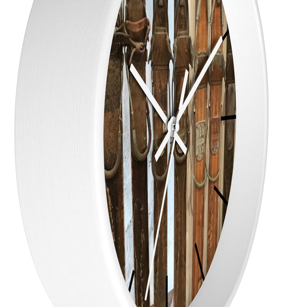 Wall clock - Vintage Ski Bindings
