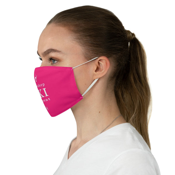 Eat Sleep Ski Pink - Fabric Face Mask