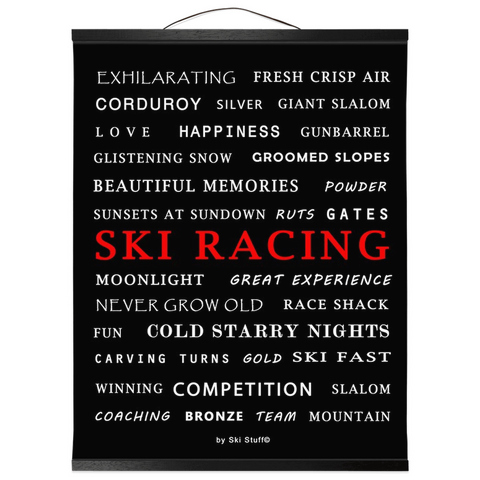 Hanging Canvas Print - Ski Racing Black