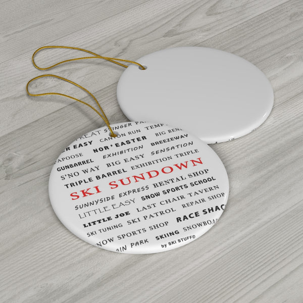 Ski Sundown - Round Ceramic Ornament