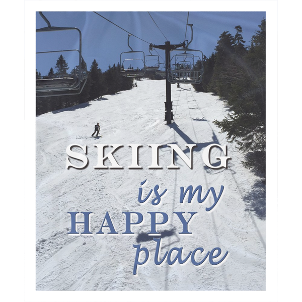 Skiing Is My Happy Place - Throw Blanket