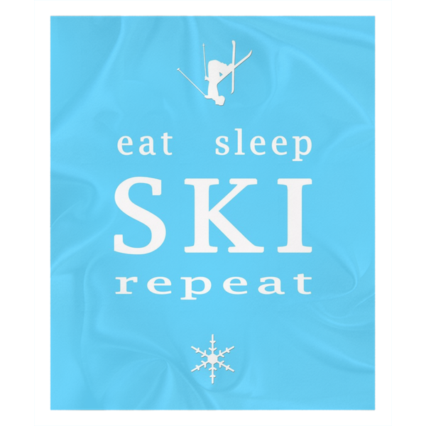 Eat Sleep SKI light blue - Throw Blanket