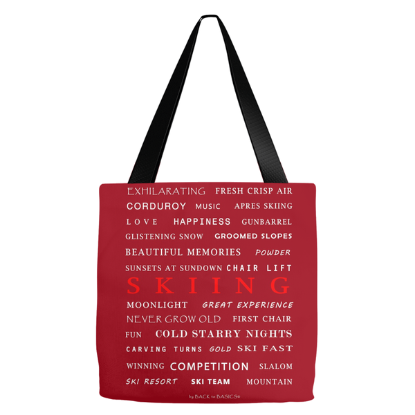 Skiing Burgundy - Tote Bag