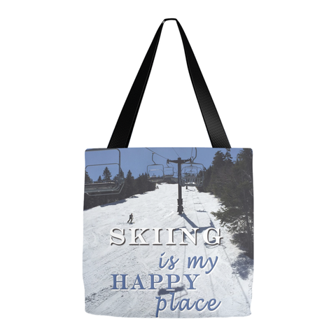 Skiing Is My Happy Place - Tote Bag