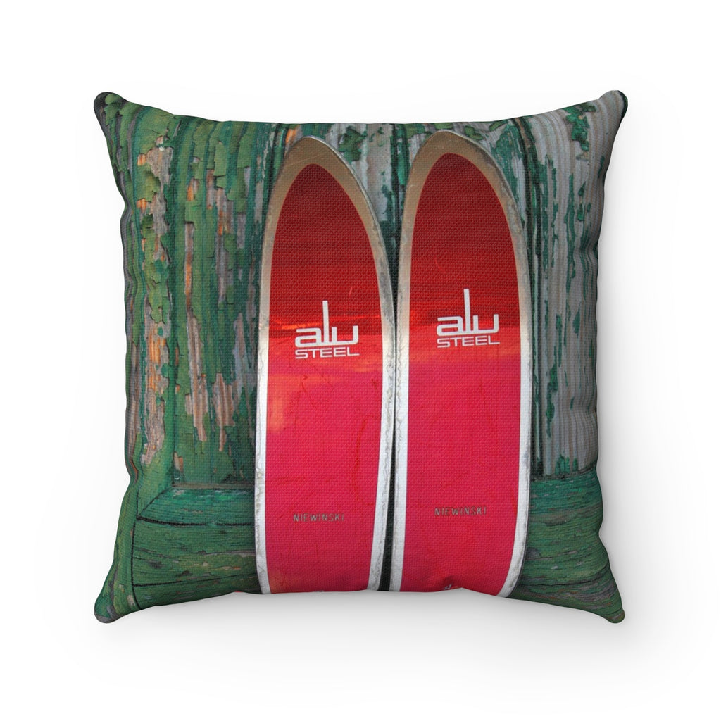 Red Skis - Throw Pillow