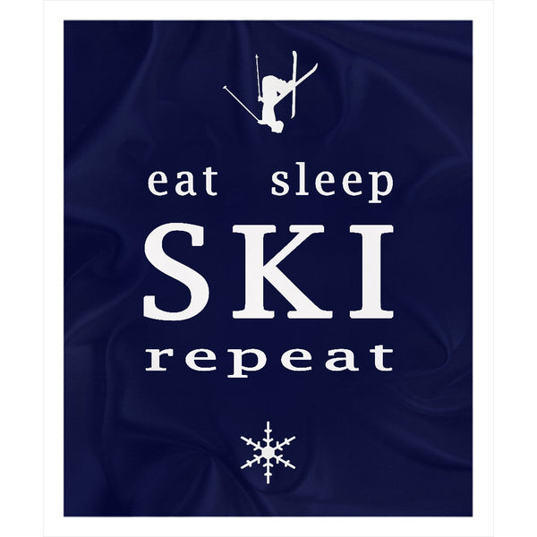 Eat Sleep SKI - Navy Blue - Throw Blanket