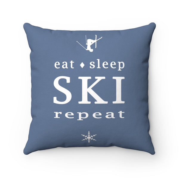 Eat Sleep SKI jeans blue - Throw Pillow