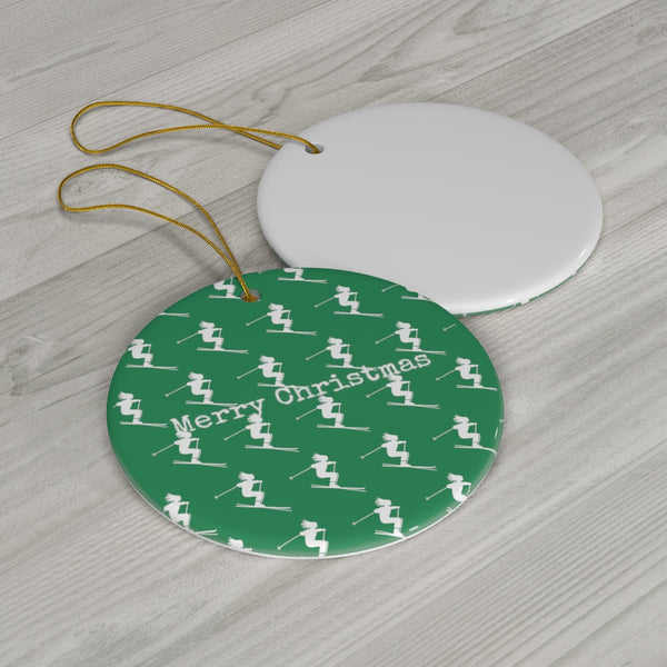 Merry Christmas Skiers - Round Ceramic Ornament