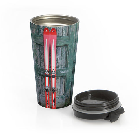Stainless Steel Travel Mug - Red Skis and Green Door