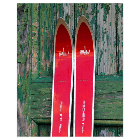 Red Vintage Skis - Poster