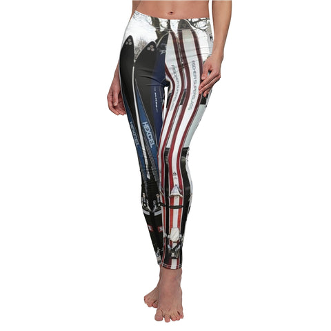 Women's Trendy Leggings - Vintage Skis Hexcel