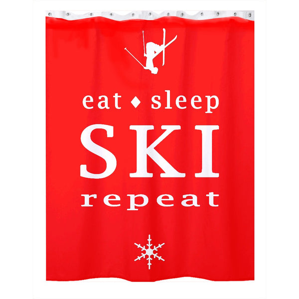 Eat Sleep SKI - Shower Curtain