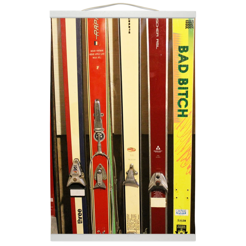 Hanging Canvas Print - Skis and Bindings