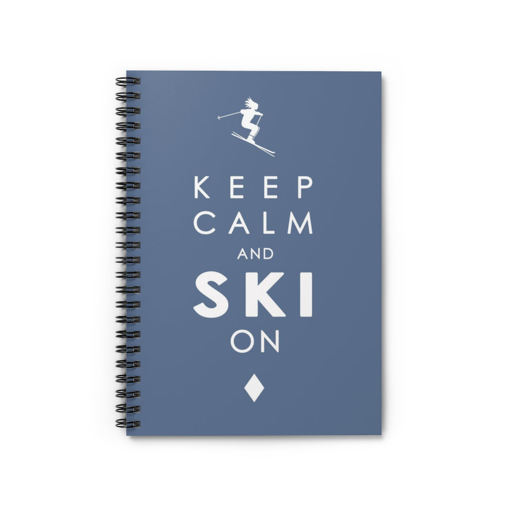 Spiral Notebook - Keep Calm and SKI on - Blue