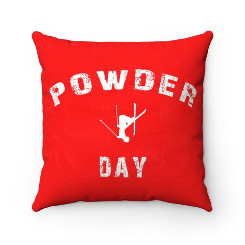 Powder Day - Throw Pillow Red