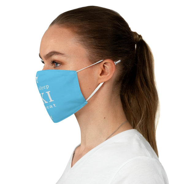 Eat Sleep Ski Light Blue - Fabric Face Mask