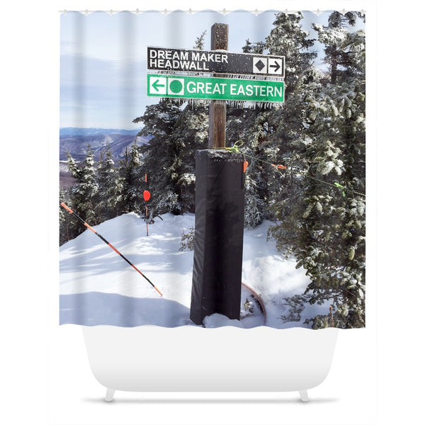 Skiing Trail Signs - Shower Curtain