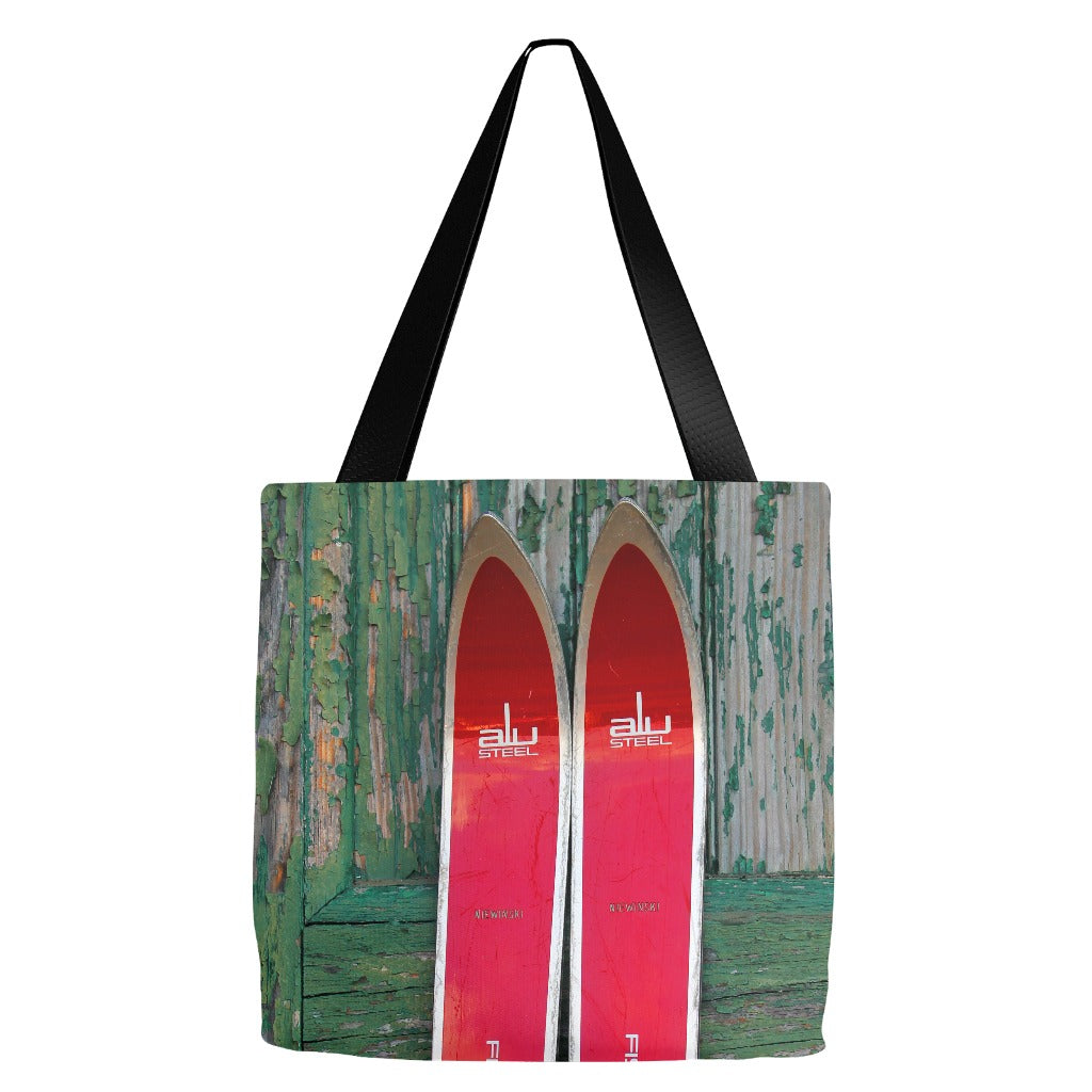 Red Vintage Skis - Tote Bag