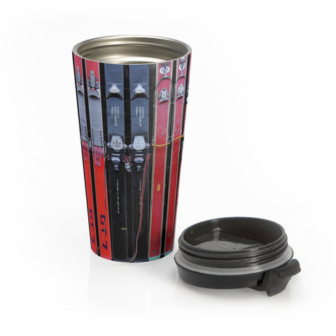 Stainless Steel Travel Mug - Vintage Skis