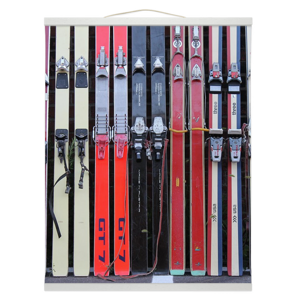 Hanging Canvas Print - Vintage Skis