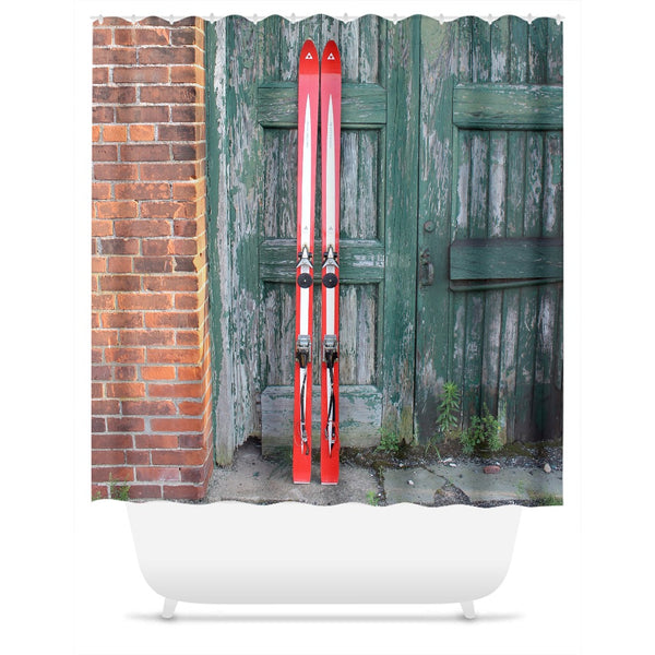 Red Skis and Green Door - Shower Curtain