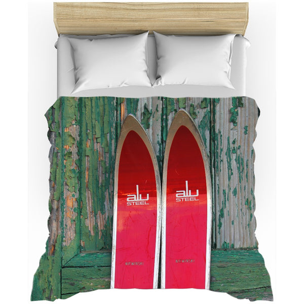 Red Vintage Skis - Duvet Cover